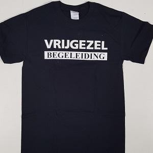 T-shirt Vrijgezel begeleiding zwart Opdruk op voorzijde in het wit